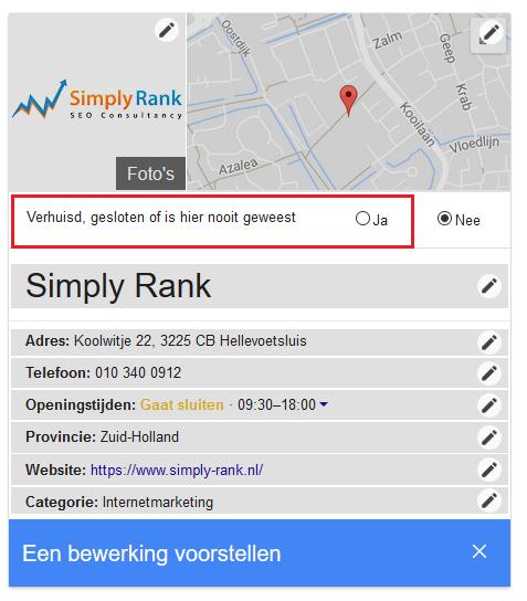 permanent sluiten google mijn bedrijf